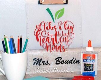 Teacher Clipboard, Personalized Clipboard, Clipboard with Ruler, Apple Clipboard, Clipboard, Teaching Little Minds, BIg Heart to Teach Minds