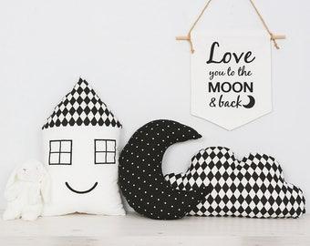 Kids pillows SETx3 Polka dots moon, smiling house pillow and cloud pillow great for modern minimalist nursery decor
