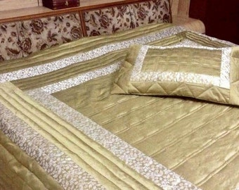 5pc Dupioni silk comforter/ Bedspread with 2 pillow/2 cushion cover