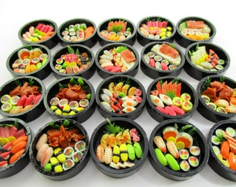 Dollhouse Miniature Japanese Food 20 Set Round Sushi Wooden #M WHOLESALE Supply Charms  13645