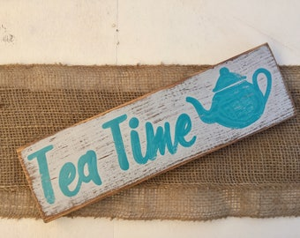 Wooden Tea Sign, Blue Tea Time sign, Tea sign, Kitchen Signs, Tea time sign, Blue Kitchen Sign, Small Kitchen Sign, Tea drinkers gift