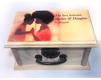 Mother,daughter, gift, gift for mom, keepsake Box,unique gift,Wood Box, Photo, Trinket Box, Small jewelry Box, birthday Gift, gifts for her,