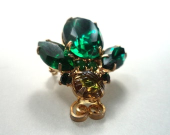 Emerald Green Rhinestone Bug Brooch Insect Pin