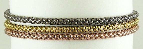 Pink, Black and Gold Bracelet set in Sterling Silver