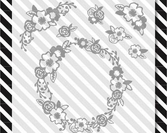 floral svg cut file - floral art design pack - svg floral design- dxf file - svg cut file - floral svg - floral cut file - dxf floral-vector