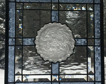 Stained glass vintage bowl transom window with celtic blue trim bevel accents