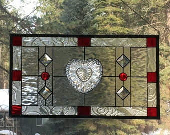 Stained Glass window with vintage heart shaped bowl, bevels and ruby red glass for accents