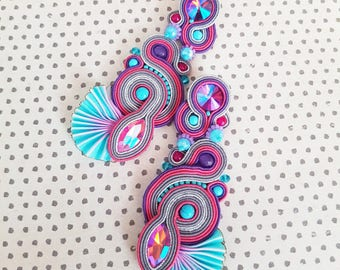 Shibori and Soutache Earrings 3 in 1: Long Earrings, Small Earrings,  Pendant; Dangling Embroidered Earrings
