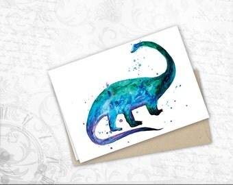 dinosaur lovers gift card for Friend watercolor art dinosaur Funny Birthday Card funny printable homemade dino birthday Card brontasaurus