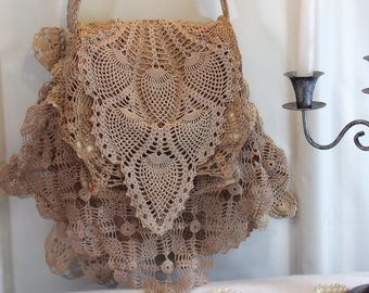 Shoulder Bag Shabby Layered Doilies Flap Over Taupe R6-12