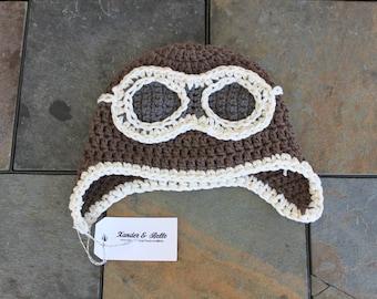 Crochet Aviator Hat in Cotton