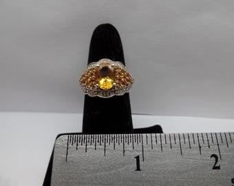 Vintage Sterling Silver Ring w/ Citrine Stones / FCM