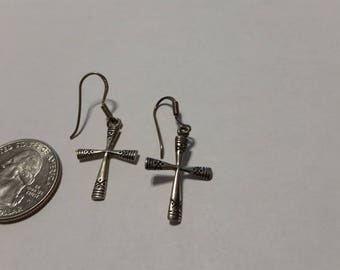 Vintage sterling silver cross earrings baer