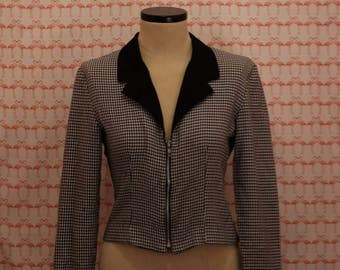 90s Black & White Houndstooth Cropped Jacket