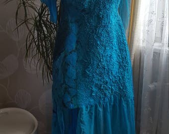 Felted turquoise dress. Only silk, merino wool and designer  love.