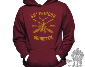CHASER - Gryffin Quidditch team Chaser Yelow print printed on MAROON Hoodie