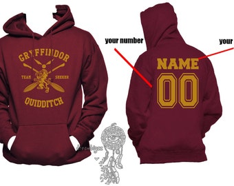 SEEKER - Custom back, Gryffin Quidditch team Seeker Yellow print printed on Maroon Hoodie