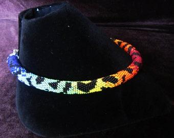 Сolored zebra necklace rope. Beaded crochet necklace rope. Rope necklace Сolored beads. Beaded harness necklace. Сolored Crochet necklace
