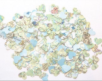 1000 x World Map Confetti Hearts
