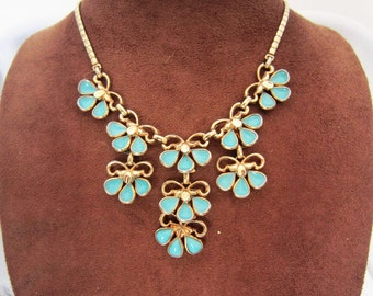 Vintage light blue Poured Glass Trifari Flower Necklace  by Alfred Phillipe, 1950s