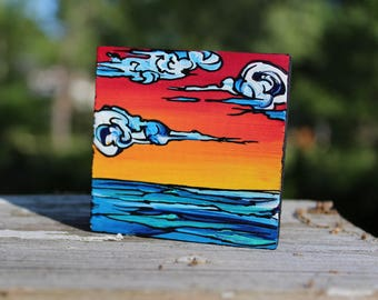 Mini Ocean Sunset Painting