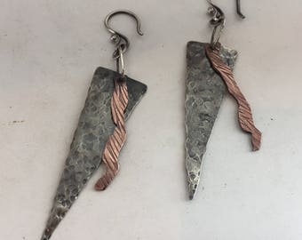 Sterling Silver Earrings, Copper, Triangle, Rustic, Dangle, Drop, Rustic, Hammered,