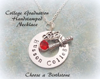 College Graduation Gift, Personalized, Handstamped Jewelry for Graduate, 2017 Graduation Jewelry Gift, Personalize with your College Name