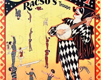 ANTIQUE CIRCUS POSTER. Rare Harlequin Acrobatics. French Vintage Deco Flapper Circus Print. Circus Illustration Digital Download.