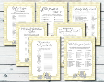 Elephant Baby Shower Games Package, Yellow Elephant Game Bundle, Baby Shower Games Package, Yellow And Grey Elephant Baby Shower Printables