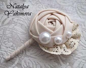 Wedding Boutonniere, Buttonhole, Grooms Boutonniere, Jewelry Boutonniere, Cotton Boutonniere, Vintage Boutonniere, Fabric Boutonniere