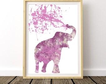 elephant printable, elephant print, wall art, watercolor, home design, illustration, elephant decor, watercolor print, watercolor art,splash