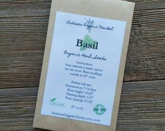 Organic Sweet Basil Seed, Heirloom Variety Herb Seeds, non GMO Seed, Garden Seeds, Culinary Herb Seed