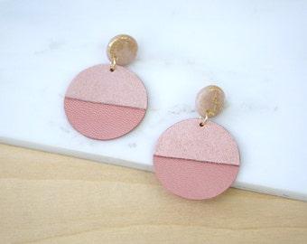 Geometric leather earrings, pink earrings, big earrings, dangle earrings, polymer clay jewelry, long earrings, gift for women, more colors