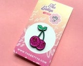 Cherry Boobs Glitter Soft Enamel Lapel Pin - The Bettys x Over it Studio Collab