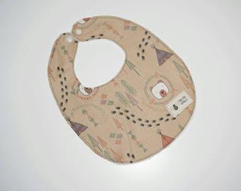Baby bib in brown bear fabric