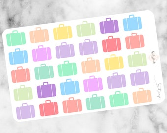 W95 Suitcase Stickers, Travel Stickers,Holiday Planner Stickers,Reminder Stickers, Packing, Erin Condren, Filofax, Mambi, KikkiK, Travelling