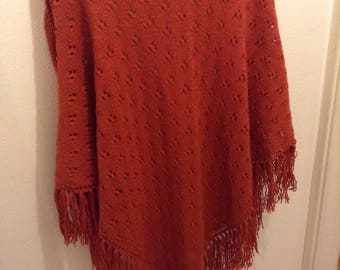 Fringed wool shawl