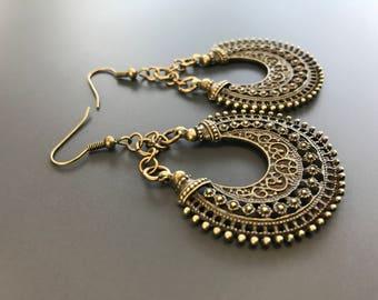 Bronze Chandelier filigree earrings