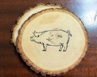 Rustic Pig Natural Wood Coasters Set of 2