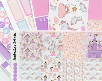 Once Upon A Time - Weekly Cute Unicorn Fairy Tale Princess Planner Sticker Kit Perfect for the Erin Condren or Any Other Planner