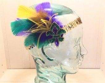 Mardi Gras Fleur de Lis Purple, Green & Gold Headband