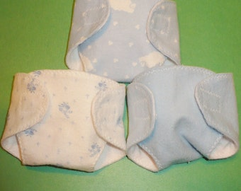 12 in Corolle Diapers - Sheep, Blue Flowers, Solid Blue