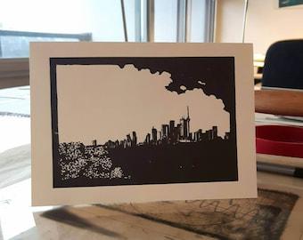 Toronto skyline card, original CN Tower linocut card, card and evelope, toronto greeting card, blank inside, city skyline, Toronto Ontario