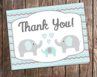 Elephant Thank You Cards for Baby Shower - Blue and Gray Chevron - Printed Thank You Envelopes Included - Aqua and Gray - Blue Elephant Baby