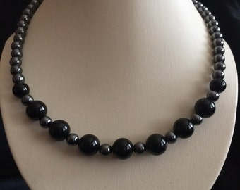 Jewelry No. 158; Black Onyx and Hematite Graduated Necklace (6 - 10mm); Nine to Five No. 1