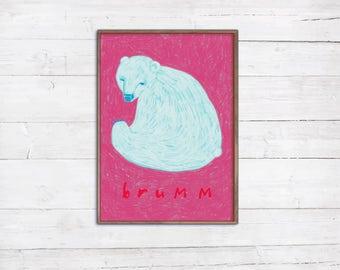 Eisbär A4 Print Illustration Zeichnung Kreide Tiere Teddy brumm