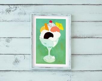 A2 Eisbecher Poster Print Wandbild Illustration Malerei Küche Café Restaurant Italienisch Eis Sahne