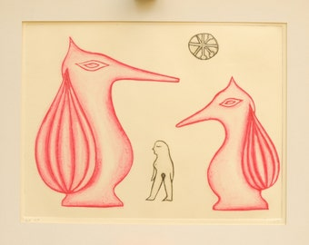 Original Fine Art Print, Drypoint Print, Etching of a naked woman and two foxes, Sepia and Pink, Wall Art, Hand Pulled in Limited Edition