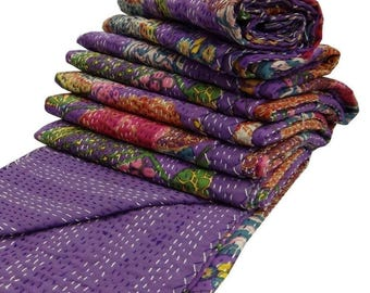 India Purple Kantha Quilt King Size Reversible Bedspread / Beach Blanket, Handmade Cotton Floral BedsheetHome Décor Size 90x108
