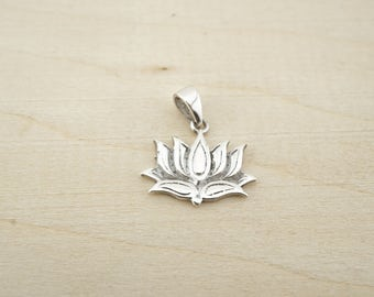 Sterling Silver Lotus Charm - Sterling Silver Wholesale - Wholesale Sterling Silver Charms - Sterling silver yoga pendant